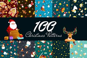 100 Christmas Seamless Pattern