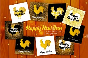 Happy New Year Postcards Lettering