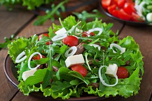 Salad with veal slices