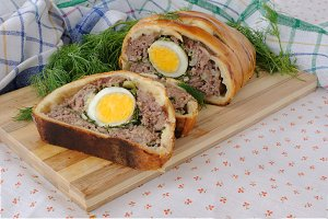 Meatloaf with egg and greens