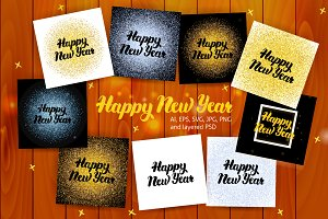 Happy New Year Lettering Posters