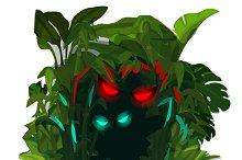 Glowing predators eyes in jungle