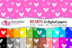Colorful Heart digital paper