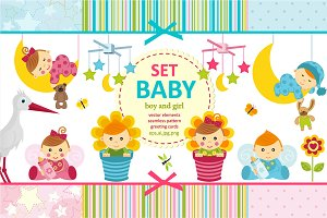 set baby boy and girl vector
