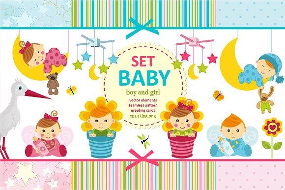 Set Baby Boy And Girl Vector