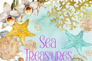 Sea Treasures 2 Watercolor Clipart