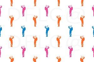 Selfie Girl Motif Seamless Pattern