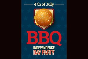 Barbecue party July 4th invitation.