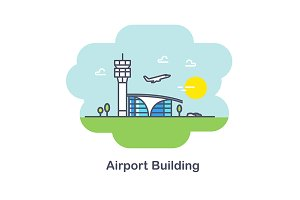 Plane and Airport building.Line Icon