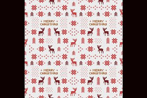 Seamless retro christmas pattern set