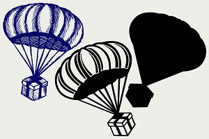 Gift box parachute SVG