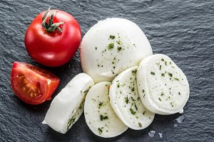 Mozzarella and tomatoes.