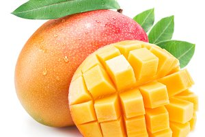 Mango fruit with leaf isolated