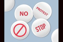 Blank white badges. Protest signs.