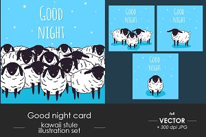 Good night card set, cute baby sheep