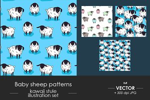 Cute baby sheep seamless pattern set