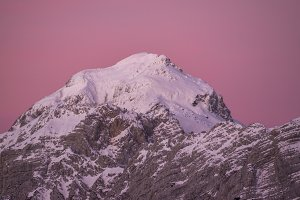 Sunrise in the winter mountains