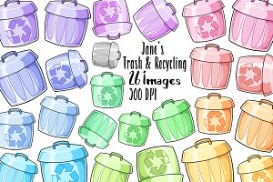 Kawaii Trash and Recycling Clipart