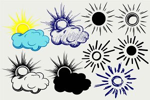 Sun in the clouds SVG