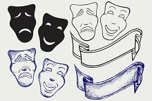 Theatrical mask and ribbon