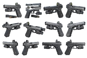 Gun weapon black military pistol set