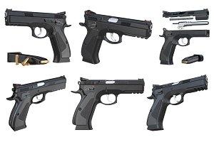 Gun weapon black modern pistol set