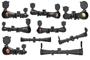 Scope optical sniper rifle black set