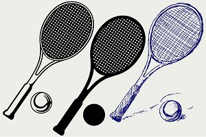 Tennis racket and ball SVG