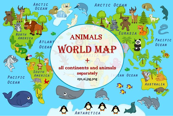 Map world with animals vector graphics creative market gumiabroncs Gallery