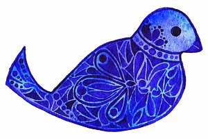 Blue violet pattern bird vector