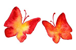Watercolor red yellow butterfly set