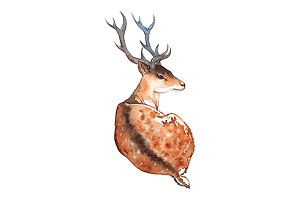 Watercolor deer with horns animal