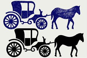 Carriage and horse SVG