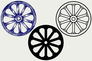 Wooden wheel SVG
