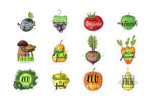 Organic products logo set