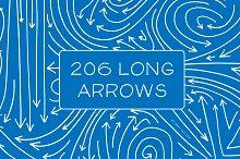 206 Hand Drawn Long Vector Arrows