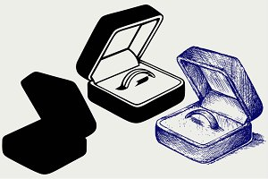 Engagement ring in box SVG