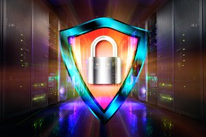 concept of shield with a padlock protect data center  the  from intrusion and hacking