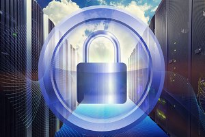 metal round frame around padlock security with server data center background in technology and network  concept