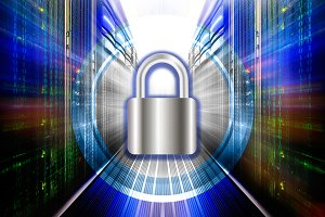padlock protects supercomputing data center . The concept of protection, security, data access