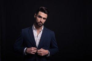man handsome fashion model, suit