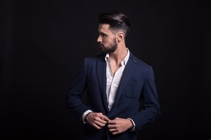 man fashion model elegant suit