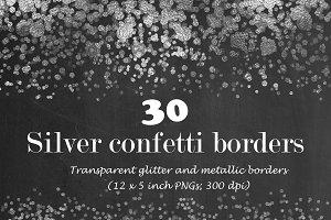 Silver confetti border overlay
