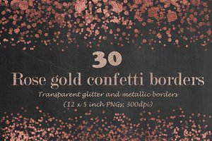 Rose gold confetti borders