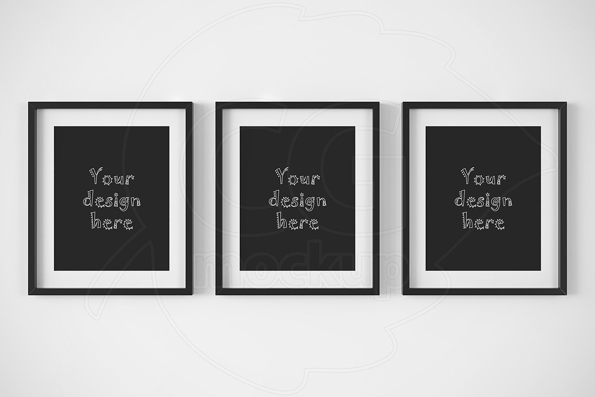 Set of 3 matted black frames mockup ~ Product Mockups ~ Creative Market