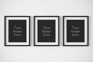 Set of 3 matted black frames mockup