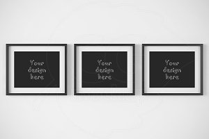 "Three horizontal frames 8x10"" mockup"