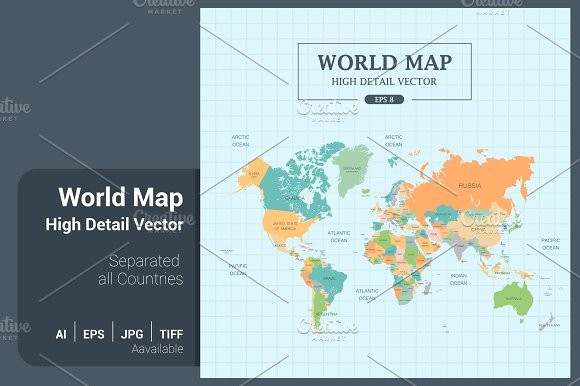 World map color separated country illustrations creative market gumiabroncs Images