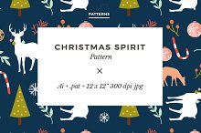 Christmas Spirit Seamless Pattern