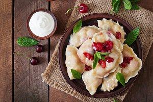 Delicious dumplings with cherries.